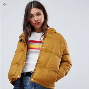 E.L.K. ASOS mustard padded jacket puffer with hood